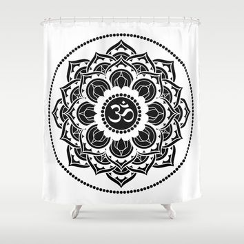Black and White Mandala | Flower Mandhala Shower Curtain by Azima