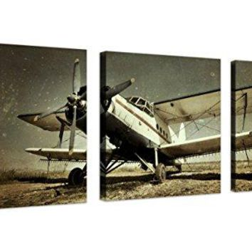 QICAI Vintage Airplane Wall Art Giclee Canvas Vintage Airplane Canvas Prints Old Paper Airplane Pictures Canvas Stretched and Framed Aircraft Pictures Paintings Artwork for Home Decor,3 pcs/set