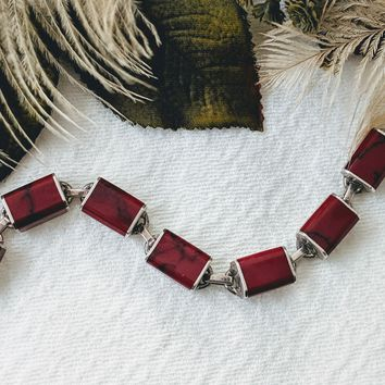 Vintage Mexico Minimalist Sterling Silver Red Jasper Inlay Bracelet