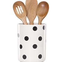 Kate Spade Deco Dot Crock With 3 Wooden Utensils Black/White ONE