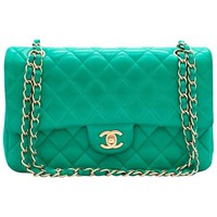 Chanel Green Quilted Leather Double Flap Bag
