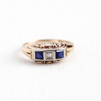 Vintage 10k Rose & White Gold Diamond and Created Blue Sapphire Ring - Art Deco 1930s Size 6 Two Tone Anniversary Three Stone Fine Jewelry
