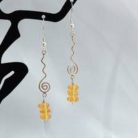 Faceted Citrine & Sterling Dangle Earrings -  Free Gift Wrap