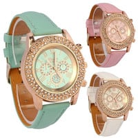 Fashion Women Ladies Crystal Dial Quartz Analog PU Leather Bracelet Wrist Watch = 1956987716