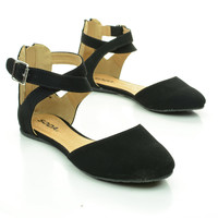 Kiner Flat Round Toe D'Orsay Open Shank Flats w/ X Cross Ankle Straps