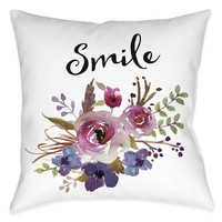 Watercolor Flowers Smile Indoor Decorative Pillow