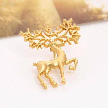 dreams Oz frosted matte gold collar pin brooch elk art