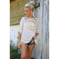 Crochet Laced Batwing Top