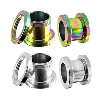 BodyJ4You Screw Fit Tunnel Rainbow and Stainless Steel Plugs - 4 Pieces