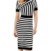 Senfloco Women's Scoop Neck Stripe Business Office Party Slim Pencil Dress