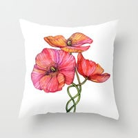 Peach & Pink Poppy Tangle Throw Pillow by micklyn