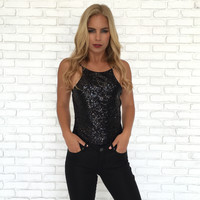 Sequin Bodysuit In Black