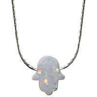 Opal White Hamsa Amulet with Silver Necklace - Chain 16 inch  Pendant 5/16 inch W X 3/8 inch H