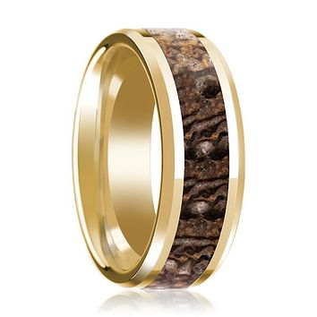 ACHEULIAN Brown Dinosaur Bone Inlay 14k Yellow Gold Men's Wedding Band with Beveled Edges - 8MM