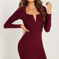 Missguided - V Bar Plunge Long Sleeve Bodycon Dress Burgundy