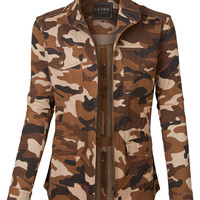 LE3NO Womens Long Sleeve Camo Print Military Anorak Jacket with Pockets