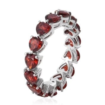 Garnet Platinum Over Sterling Silver Heart Eternity Ring