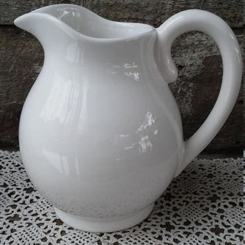 "White Portugal Pitcher, Large 8"" tall,  Serving Pitcher, Pottery, Earthenware, Stoneware, Glazed, Farmhouse Decor"
