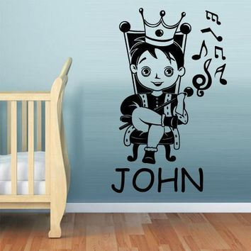Wall Decal Vinyl Decal Sticker Kids Baby Custom Name Prince Boy Little King  z559