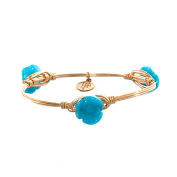 Bourbon & Boweties Tiny Turquoise Rosette Bangle