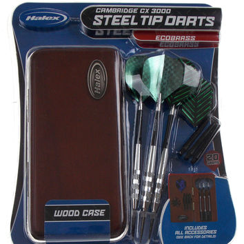 Darts Halex Cambridge CX 3000 Steel Tip Set EcoBrass Barrels 20g Wood Case Tool