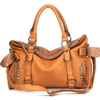 MyLux Women Fashion Hobo Purse Handbag 120885 Tan