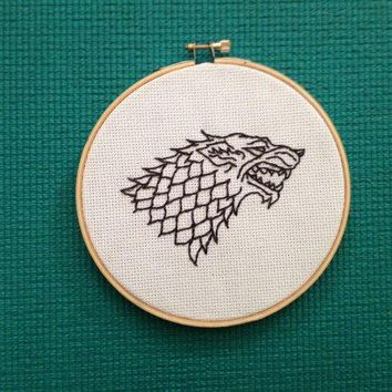 Game Of Thrones Direwolf Embroidery Hoop Art