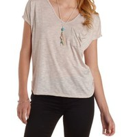Oatmeal Heather Slouchy Pocket V-Neck Tee by Charlotte Russe