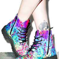 T.U.K. Mix Paint 7 Eye Combat Boots Multi