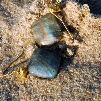 Diamond Labradorite Earrings