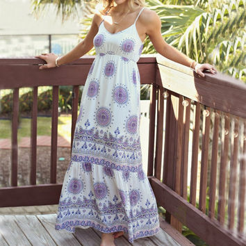 New Arrival Summer Dresss 2017 Sexy Women Pattern Print  Beach Party Dresses Casual Spaghetti Strap