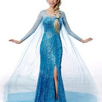 Frozen Princess Snow Queen Elsa Fancy Dress Cosplay Costume (S, Elsa Dress):Amazon:Toys & Games