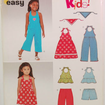 Simplicity 6361 New Look (c. 2004) Children Sizes 3-8, Summer Clothes, Sun Dress, Shorts, Summer Top, Jumper, Easy Sewing, Gift Idea