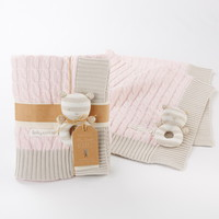 Opentip.com: Baby Aspen BA12037PK My Sweet Baby Classic Cable Knit Blanket, Pink