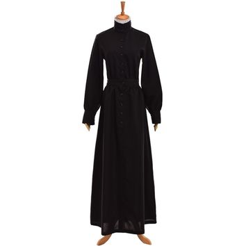 British Black MAID COSTUMES Victorian Edwardian Housekeeper Cosplay Servant Walking Dress