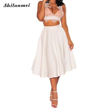 Autumn Black White Solid ladies skirts full circle saia femininas longa jupe female casual vestidos 2017 pin up vintage faldas