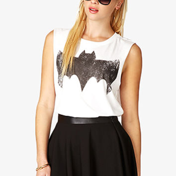 FOREVER 21 BatmanTM Muscle Tee Cream/Black Large