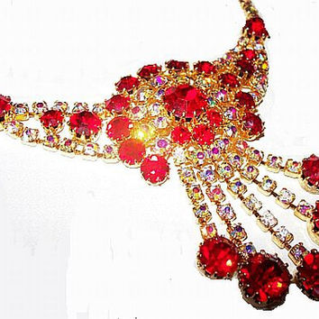 "Juliana Red Rhinestone Pendant Necklace D&E Confirmed Gold Metal Hook Clasp 19"" Holiday Vintage Piece"