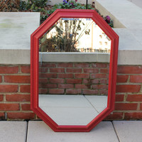 Rustic red octagon beveled wall mirror - Red decor, large mirror, rustic decor, country chic mirror
