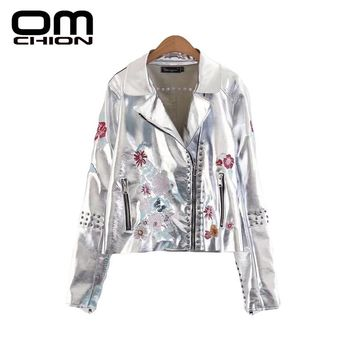 New Fashion Rivet Floral Embroidery Long Sleeve Women Faux Leather Pockets Turn-down Collar Zipper Jacket