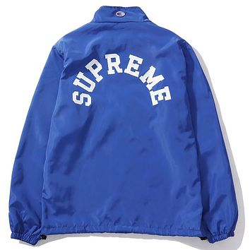 Supreme & Champion joint series UV protection zipper sports trench coat F-A-KSFZ blue