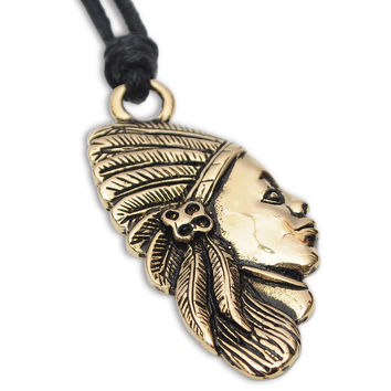 Native American Indian Head  Handmade Brass Necklace Pendant Jewelry