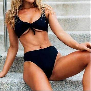 Trending Women Stylish Pure Color Chest Knot High Waist Two Piece Bikini Swimsuit Bathing(2-Color) Black I12013-1