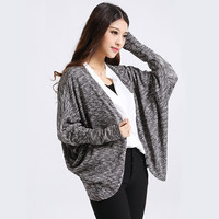 Long-Sleeve None Button Knitted Cardigan