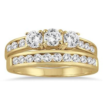 1 1/2 Carat Three Stone Diamond Bridal Set in 10K Yellow Gold