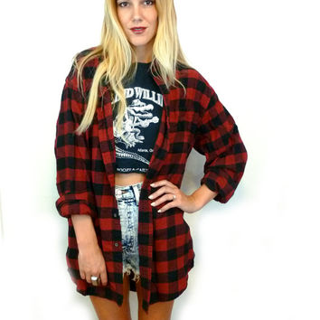 90s Red and Black GRUNGE Flannel Long Sleeve Oversize BOYFRIEND Shirt/ Outerwear