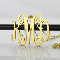 Gold Custom Initial Monogram Necklace Personalized Name Necklaces Fashion Jewelry