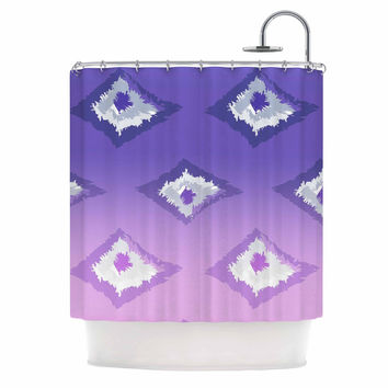 "Alison Coxon ""Purple Ombre Ikat "" Lavender White Shower Curtain"