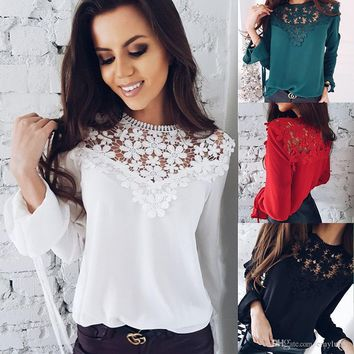 Sexy Womens Summer T Shirt Lace Panelled Chiffon Tops Long Sleeve Autumn Spring Causal Blouse Free Shipping Plus Size Women Clothing