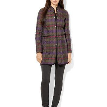 Lauren Ralph Lauren Petite Quilted Plaid Coat